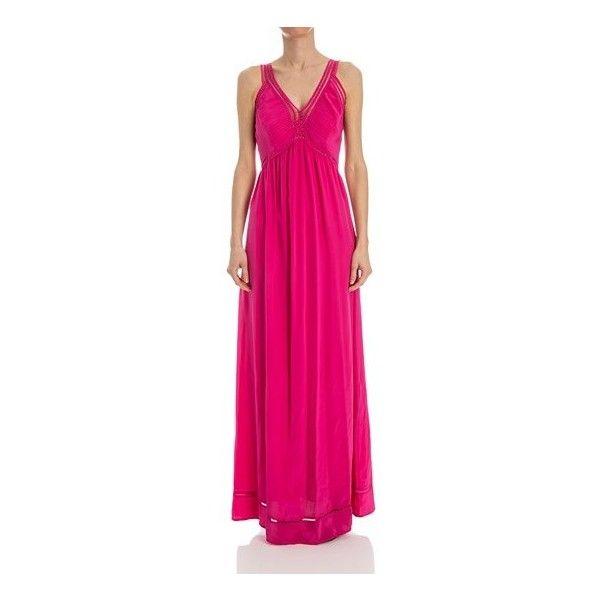 Parosh Silk Dress ($430) ❤ liked on Polyvore featuring dresses, fuchsia, fuchsia long dress, fuchsia pink dress, long silk dress, long dresses and fuschia long dresses