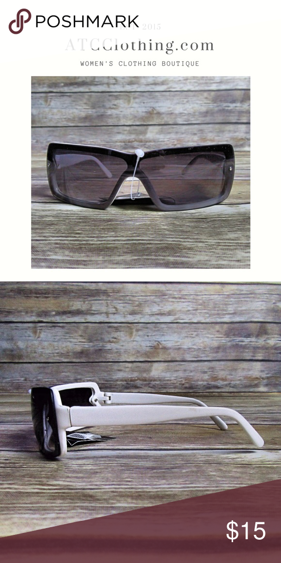 Dark Brown Tinted Shield White Frame Sunglasses Boutique