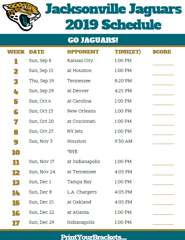 image about Printable Nfl Schedules titled Printable Jacksonville Jaguars Agenda - 2019 Year