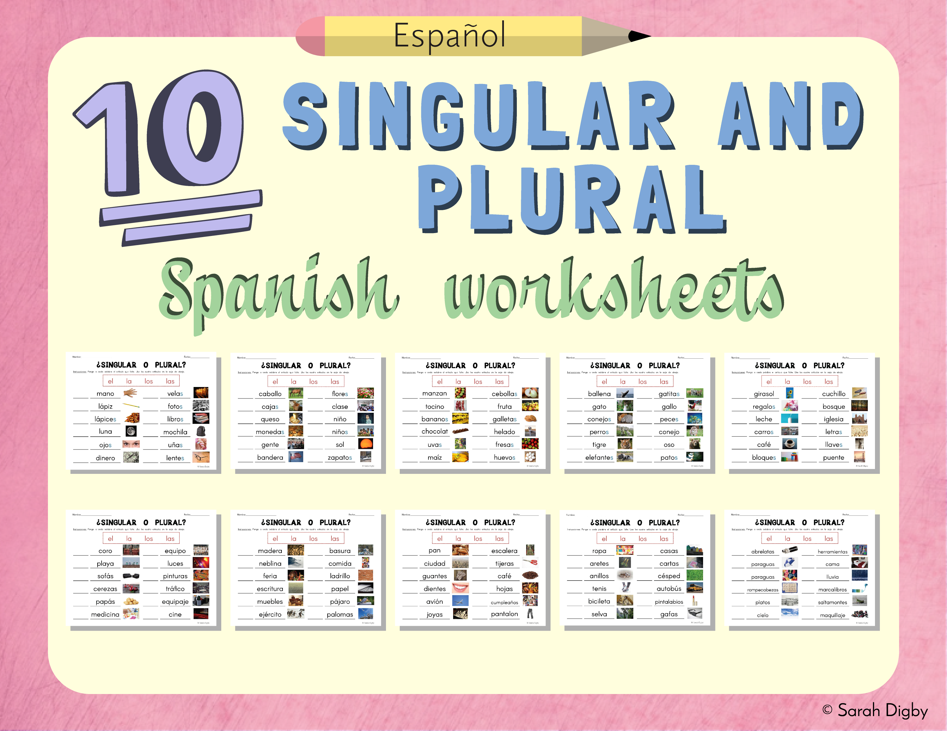 10 Spanish Singular And Plural Grammar Worksheets