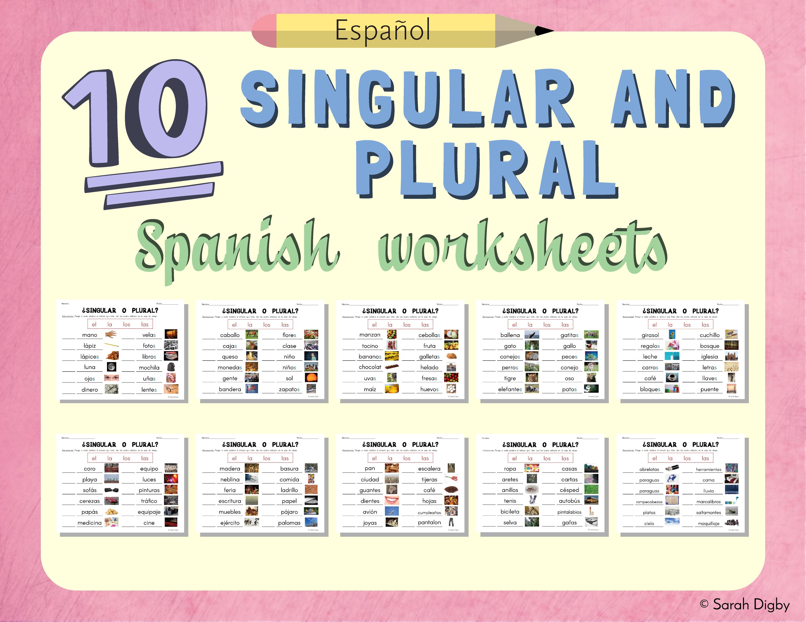 10 Spanish Singular And Plural Grammar Worksheets