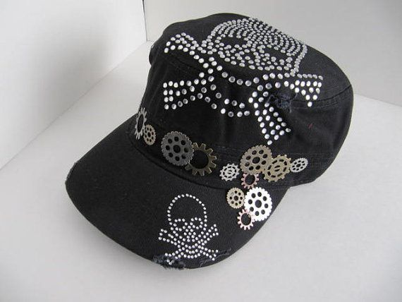 0d7467ddd73be Steampunk Hat Cadet Hat Black Cadet Hat Skull by LuckySteamPunk