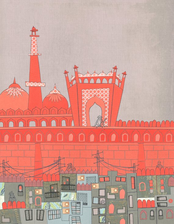 Purani Dilli Old Delhi - Postcards From India - 11 by 14 Illustration Paper Collage Art Print (Signed)