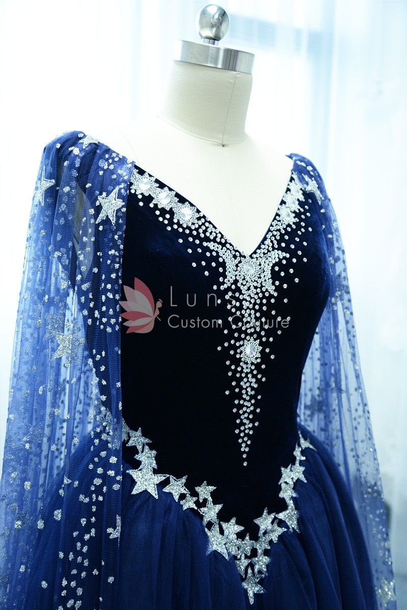 Stunning starry night sky stars and moons beaded long navy prom