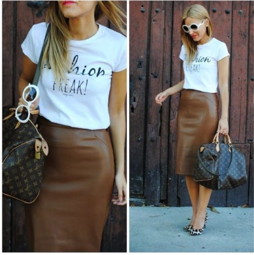 Zara Brown Faux Leather Pencil Skirt Size L Large | Faux leather ...