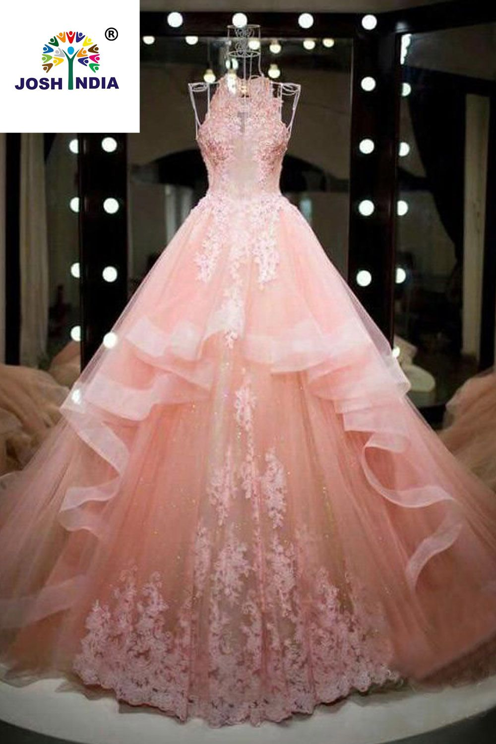 Nw Elegant Glamours Light Pink Color Printed Stylish Gown For Wedding Quince Dresses Quincenera Dresses Pretty Quinceanera Dresses [ 1500 x 1000 Pixel ]