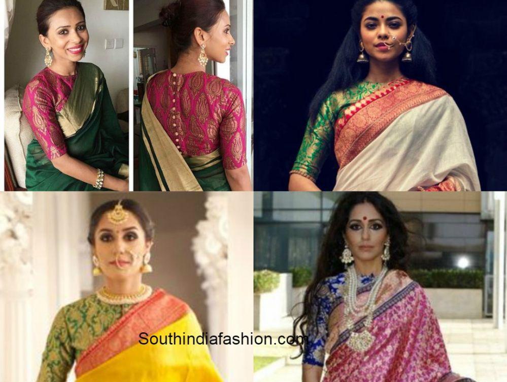 838d8bb9643ca High Neck Blouse Designs for Silk Sarees