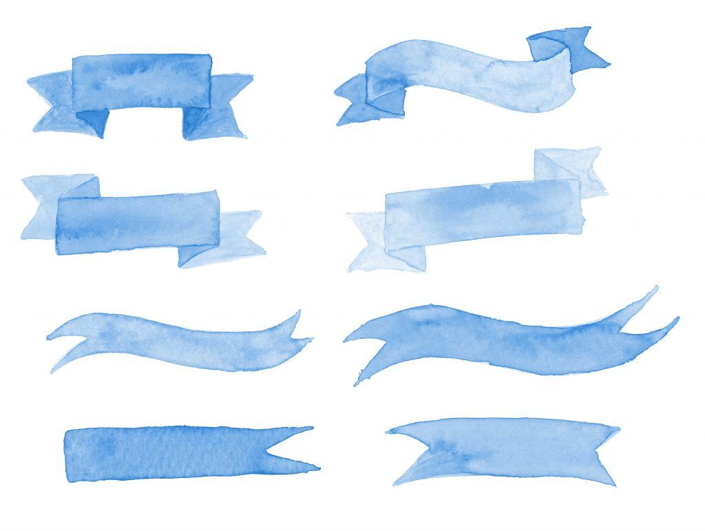All Kinds Of Clip Art Watercolor Banners Etc Ribbon Banner Blue Watercolor Watercolor Stickers