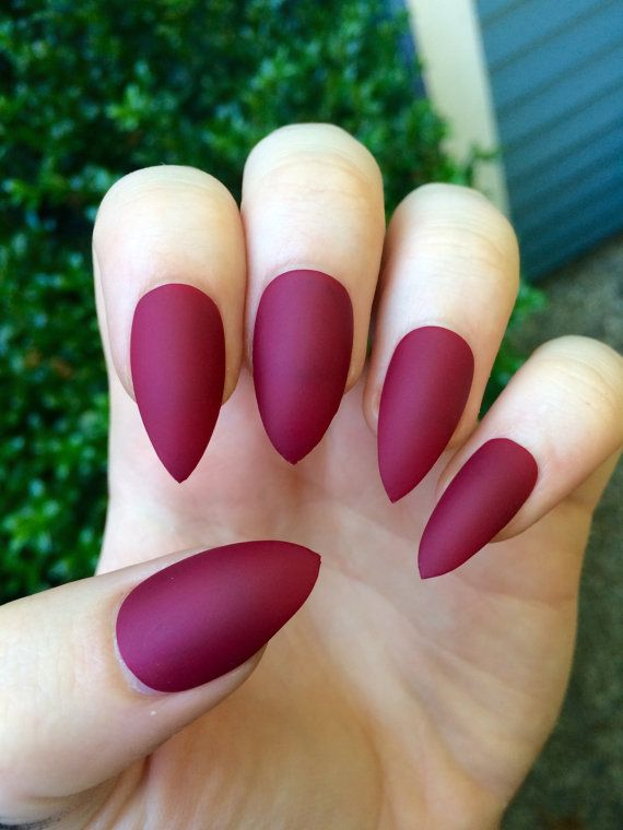 Matte nails, maroon nails, fake nails, stiletto nails | Kahli Kawaii ...