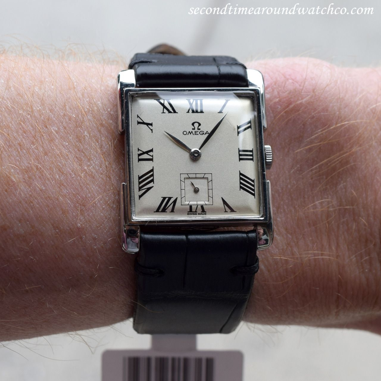 2283496ffc633 A 1946 stainless steel Omega Ref. 3813-4 square-shaped watch. This watch  features unique