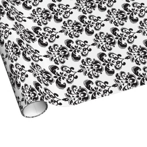 Girly Black and White Vintage Damask Pattern 2 Gift Wrap Paper
