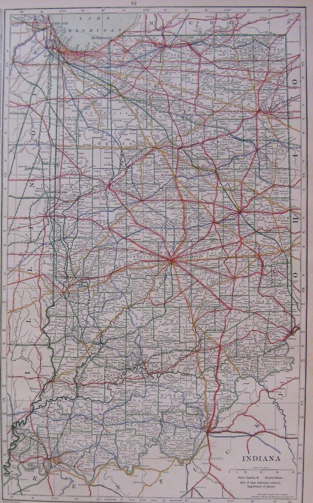1915 Antique INDIANA State Map Railroads Uncommon Original Map of ...
