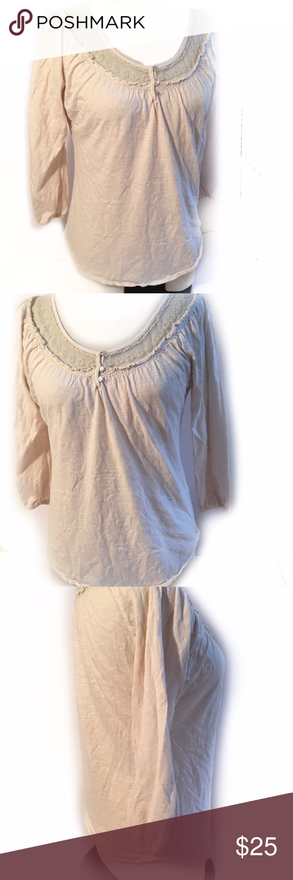 "Lucky Brand Women's Knit Tunic Top SZ S Lace Lucky Brand Women's Knit Tunic Top SZ S 100% Cotton Cream 3/4 Gathered Sleeve  20 1/2"" arm pit to arm pit 21"" length Lucky Brand Tops"