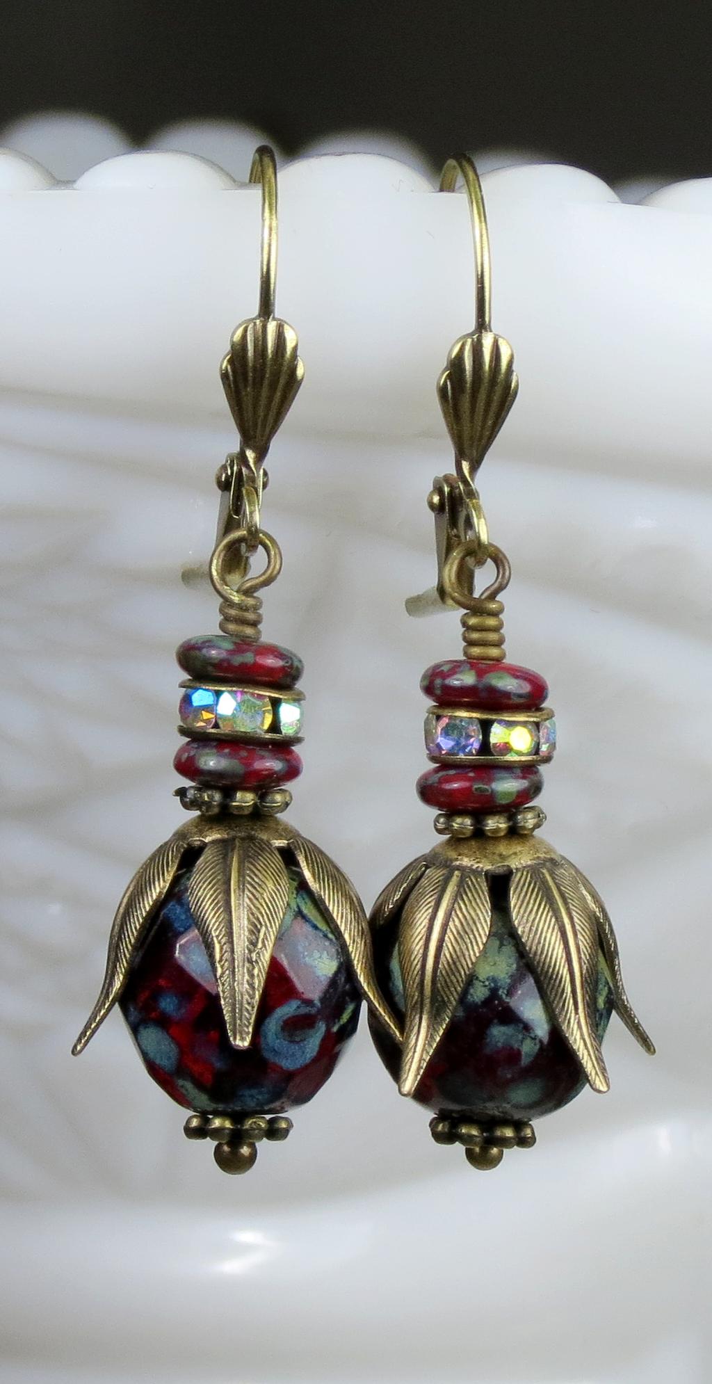 Neo Victorian Dangle Earrings, Rustic Red Czech Glass Bead Earrings,  Vintage Style Earrings, Steampunk Earrings Jewelry, Antiqued Bronze