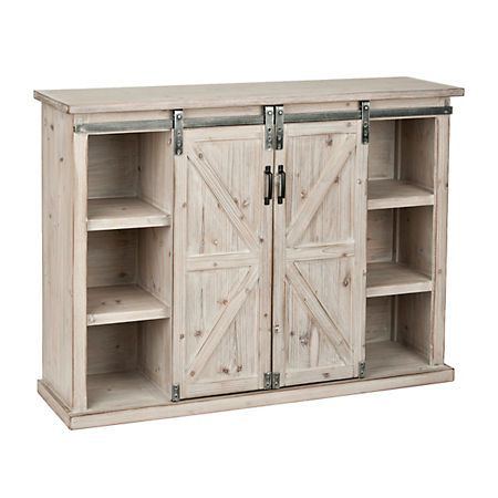 Natural Farmhouse Sliding Door Cabinet | White farmhouse, Sliding ...