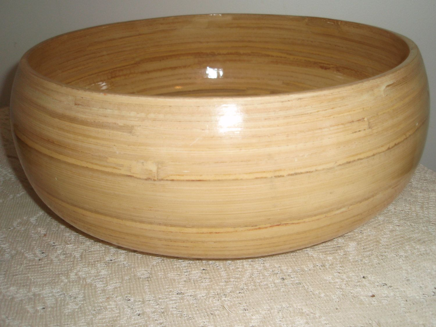 Large Wooden Serving Bowl Bamboo Wood Salad Fruit 12 X 5 By Socialmarystreasures On Etsy