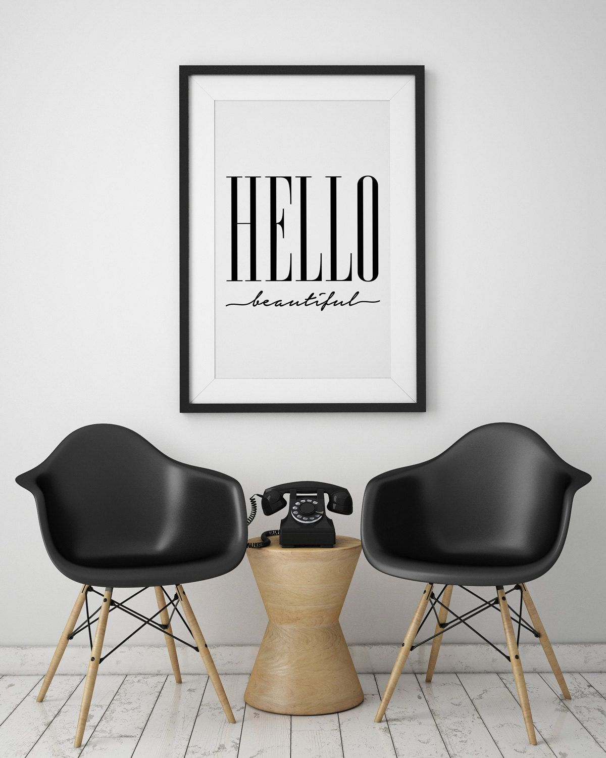 Quote print hello beautiful wall art typography poster wall