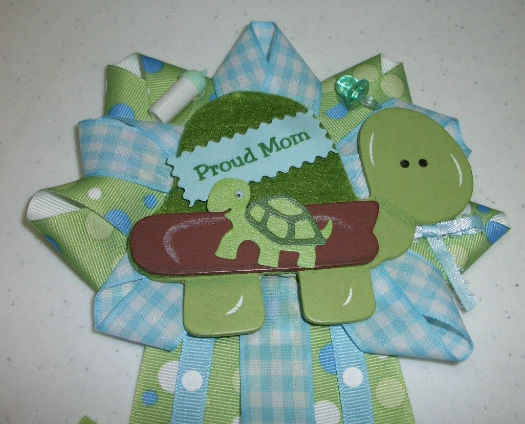 Turtle Baby Shower Corsage In Blue And Green For A Baby Boy   Ready To Ship