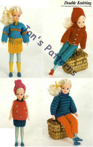 Sindy Barbie Fashion Doll Knitting Pattern Casual 4 Outfits Knit