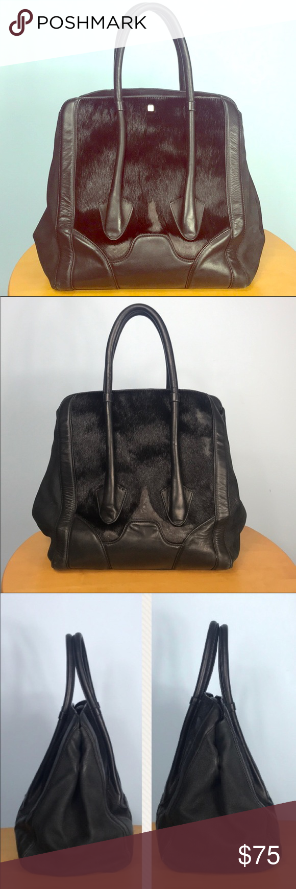 025c433e1fe0 Pour La Victoire 🌺 Butler Bag Calf Hair Tote This Large black on black Pour  la