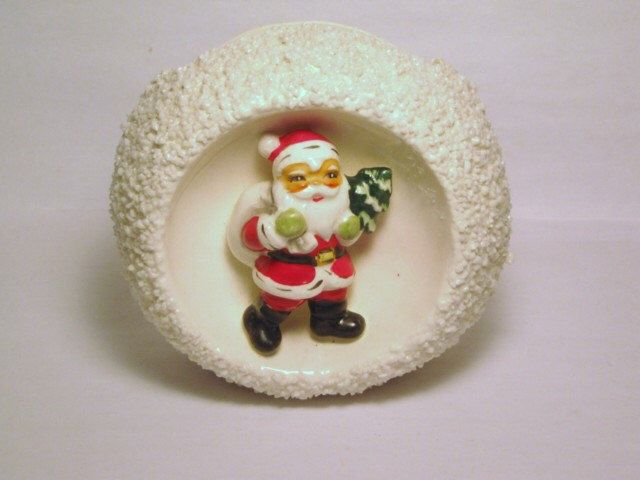 Vintage Christmas Santa Claus porcelain 3-D figurine  Snowball spaghetti trim Snow Relpo Planter Candy Cane dish Japan Ornament Decoration by BrilbunnySelections on Etsy https://www.etsy.com/listing/164110000/vintage-christmas-santa-claus-porcelain