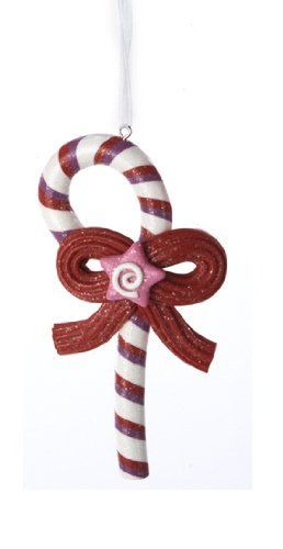 Sugar Town Candy Cane with Licorice Bow and Pink Star Christmas Ornament