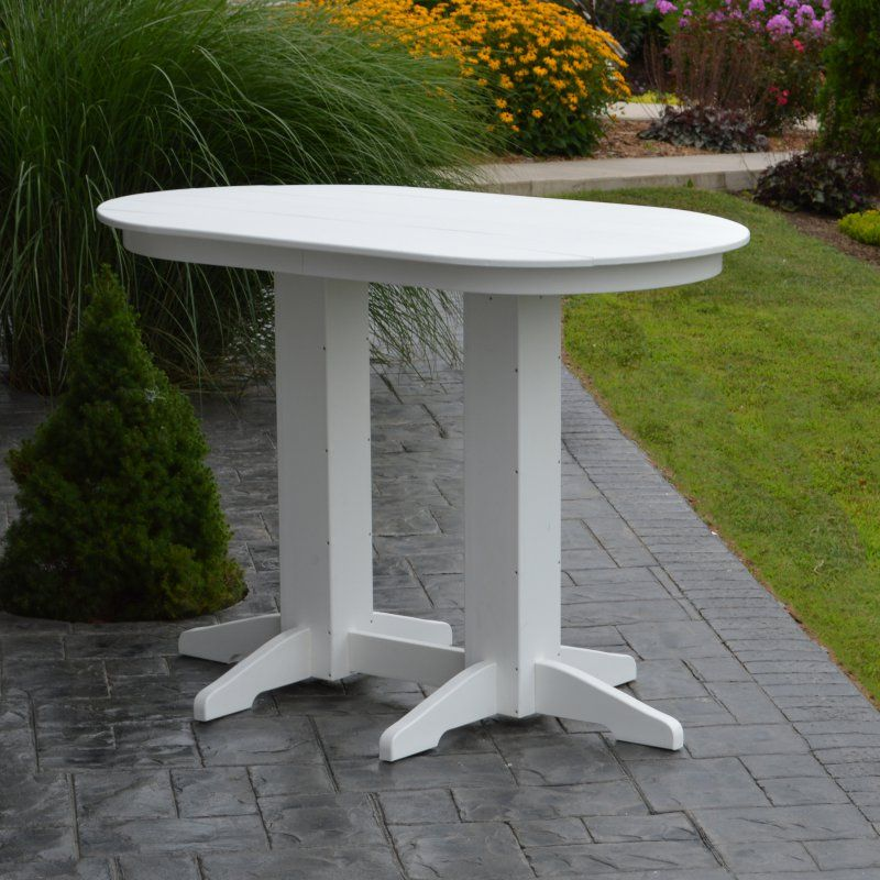 Outdoor A & L Furniture Poly 60 x 33 in. Oval Bar Height Table - 5111-WITHOUT HOLE-AB ARUBA BLUE