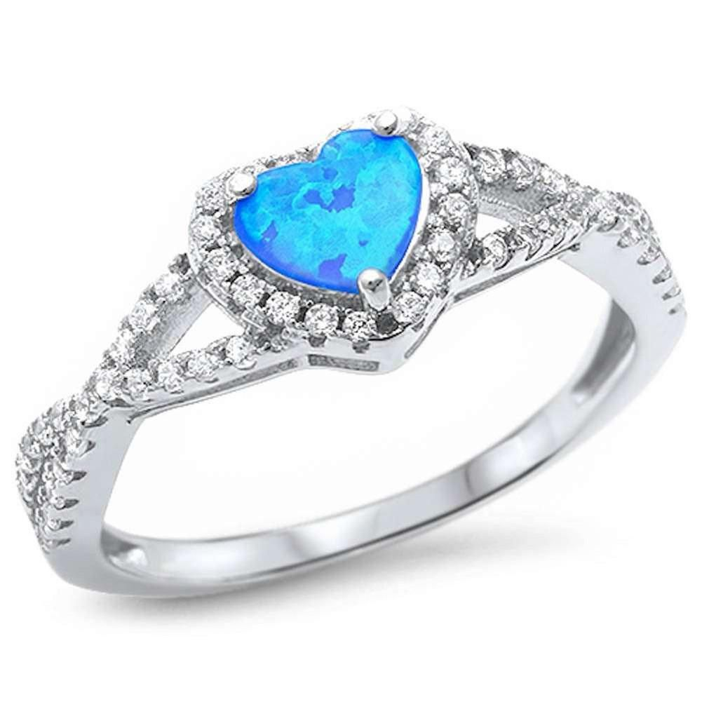 Lab Created White Opal Infinity Cz Twisted Band Sterling Silver Ring Sizes 5-10