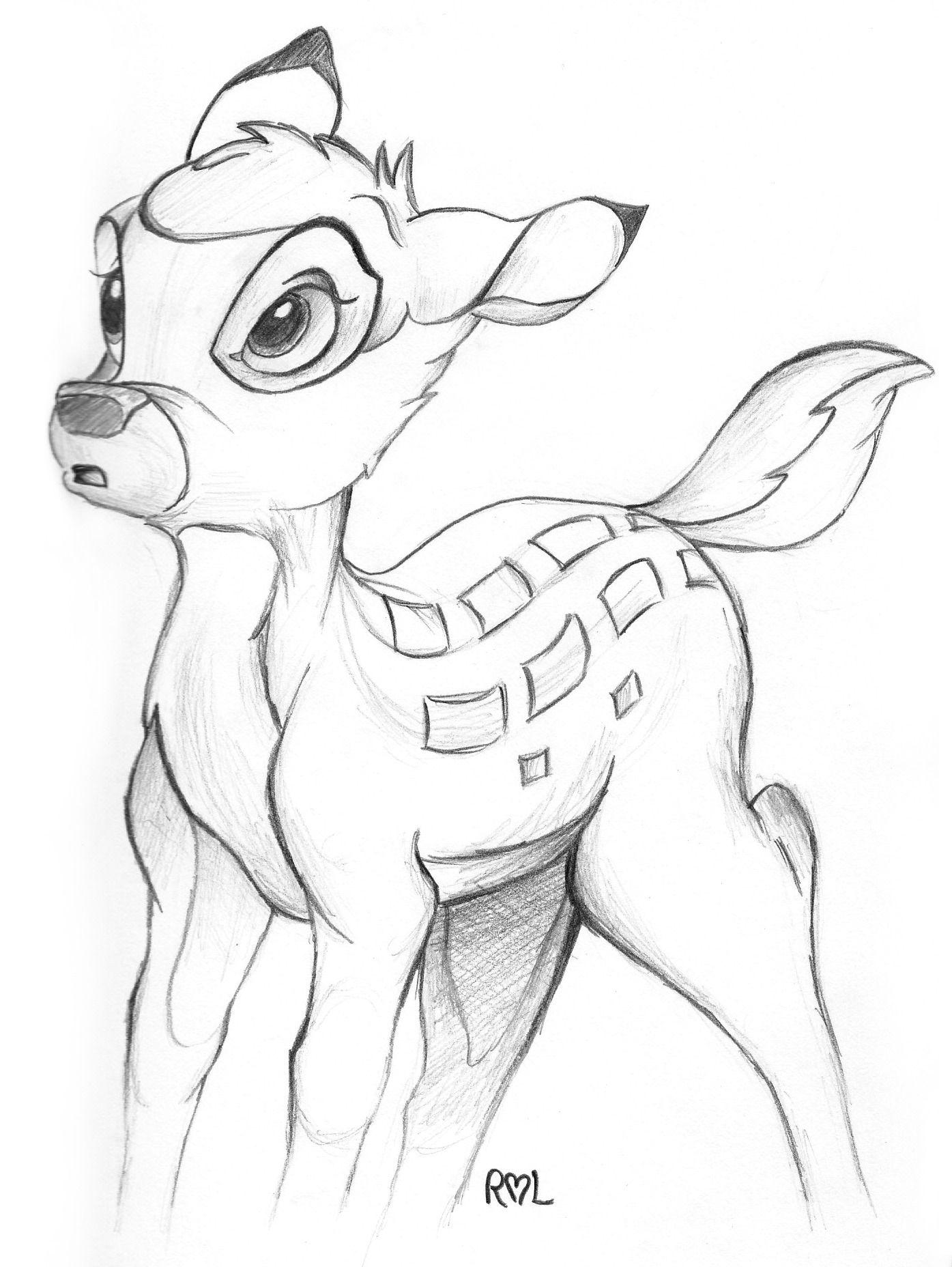 бэмби рисунок карандашом замок калитку