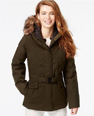 The North Face Dunagiri Faux-Fur-Hood Belted Jacket - Coats - Women - Macy's
