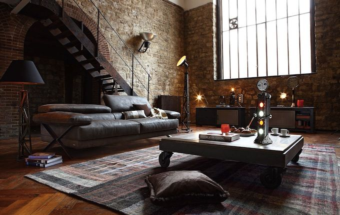 interior design style industrial living room characteristics rough unfinished surfaces and materials - Industrial Interior Design Ideas