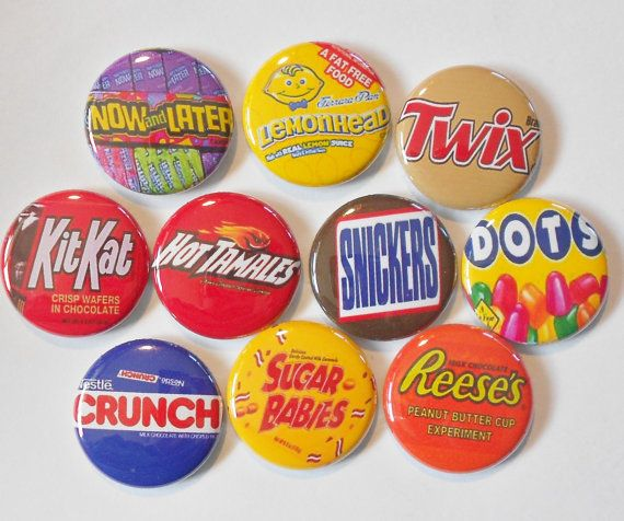 Movie Theater Candy Flatback or Pin Back Buttons by RasberryGrove, $3.00