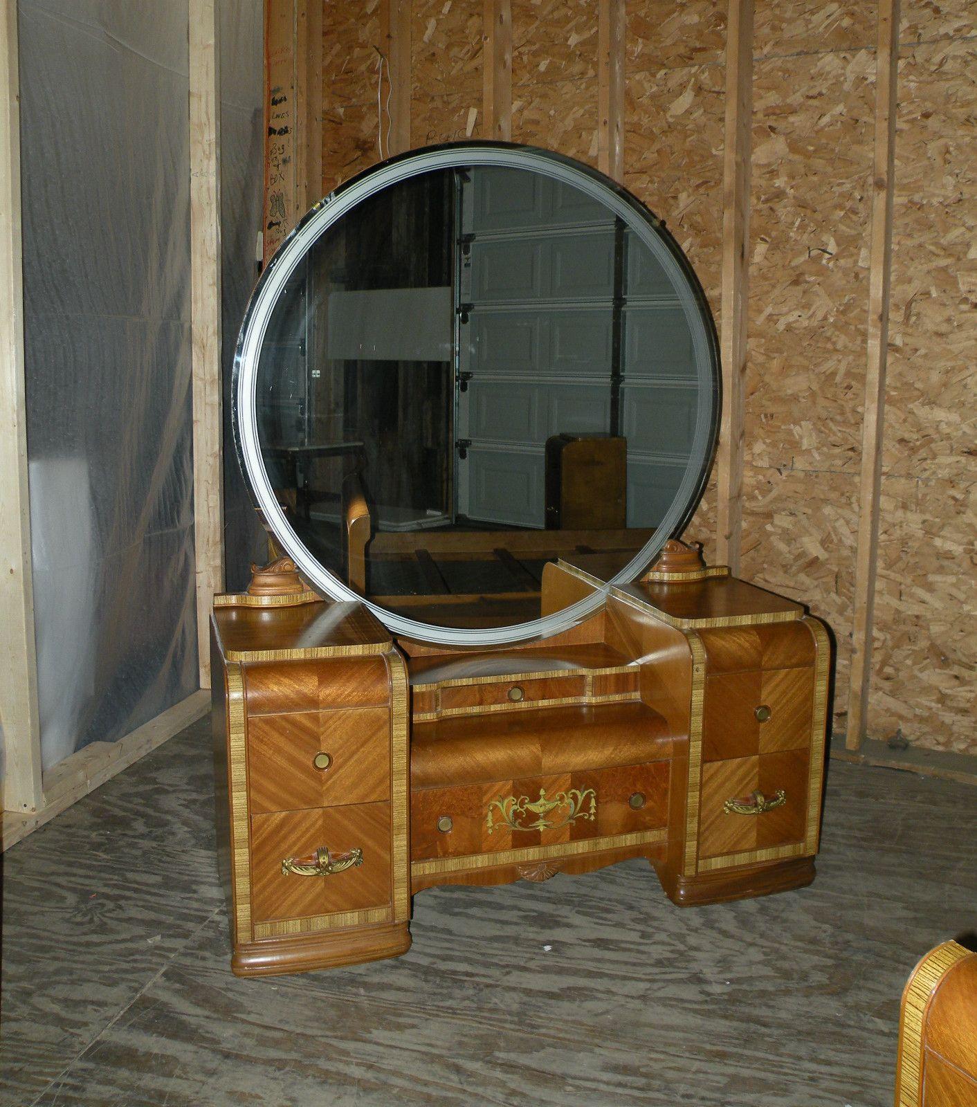 Antique Art Deco Waterfall Furniture Bedroom Set Full