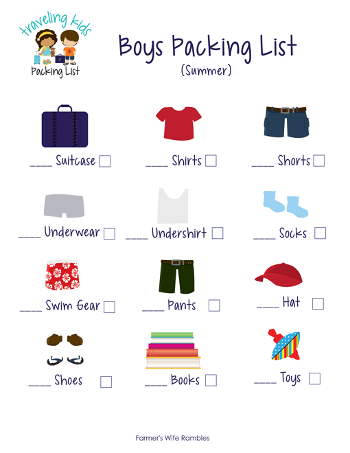 Free Kids Packing List Printables Let The Pack Their Own Suitcase