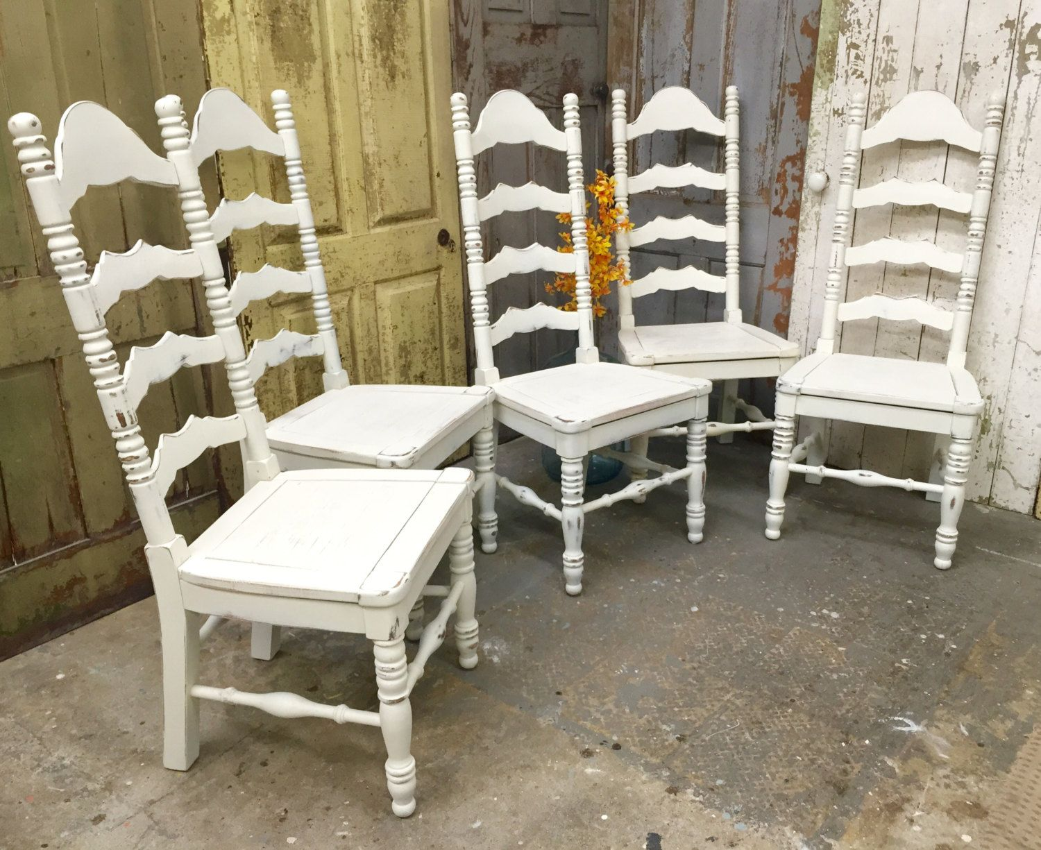 Ladder Back Dining Chairs, White Wooden Chairs, Shabby Chic Chairs, Tall  Back Chairs