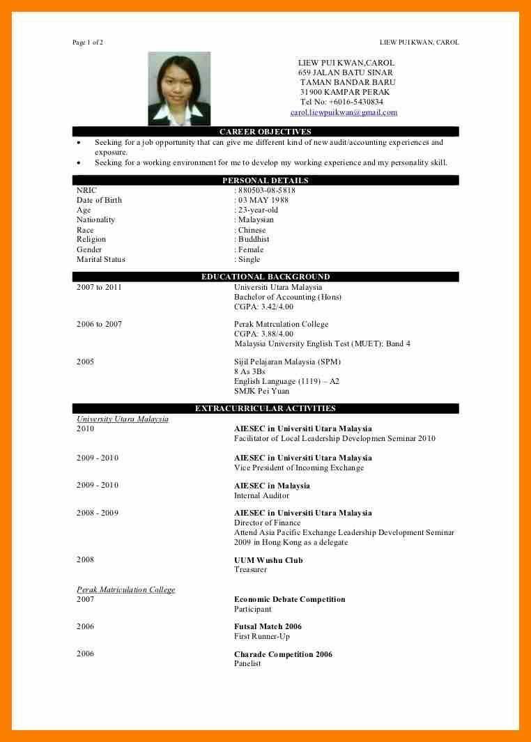 Cv Sample Fresh Graduate Hong Kong Cv Resume Sample Simple Resume Sample Sample Resume Format