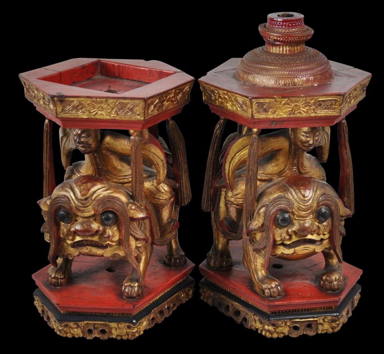 Pair of Straits Chinese 'Red & Gold