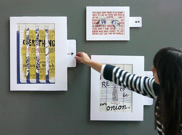 Movable paper film posters including illustrations and hand-drawn type advertising the film Harriet the Spy. #filmposterdesign