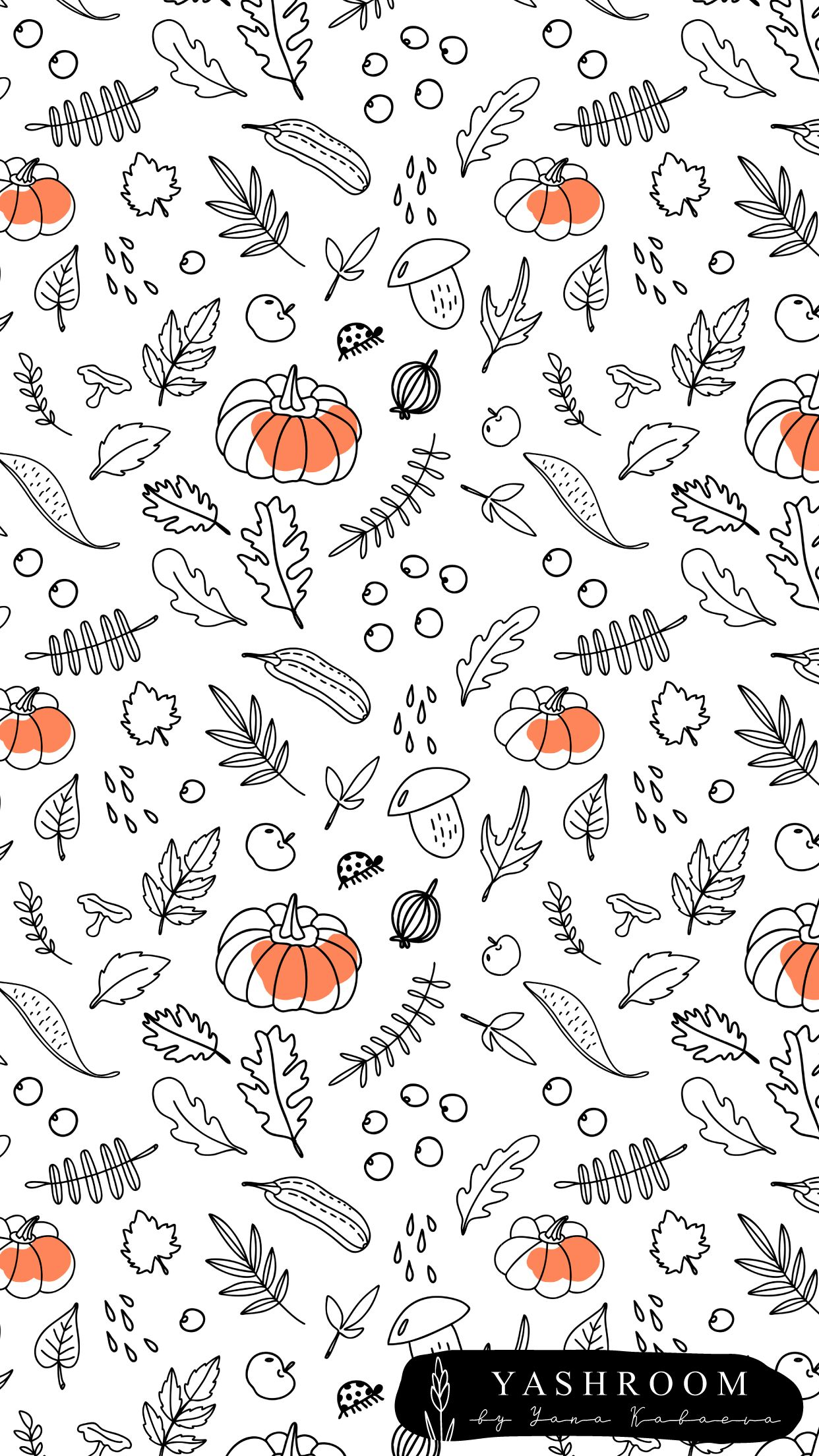 Colorful fabrics digitally printed by Spoonflower - autumn pumpkin #fallbackgrounds