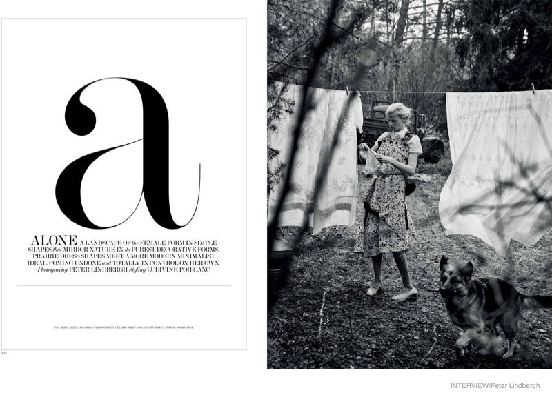 The Dutch model wears a Celine dress in the black and white image.