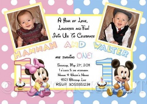 TWINS Baby Mickey And Minnie Mouse First Birthday Photo Invitation - Digital first birthday invitation