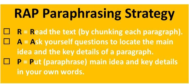 Paraphrasing a paragraph strategy