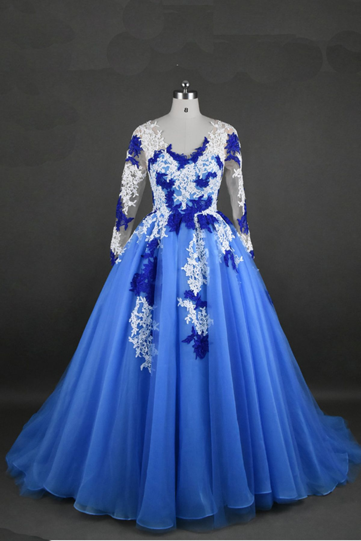 Vintage prom dress blue chiffon prom dress with lace appliques