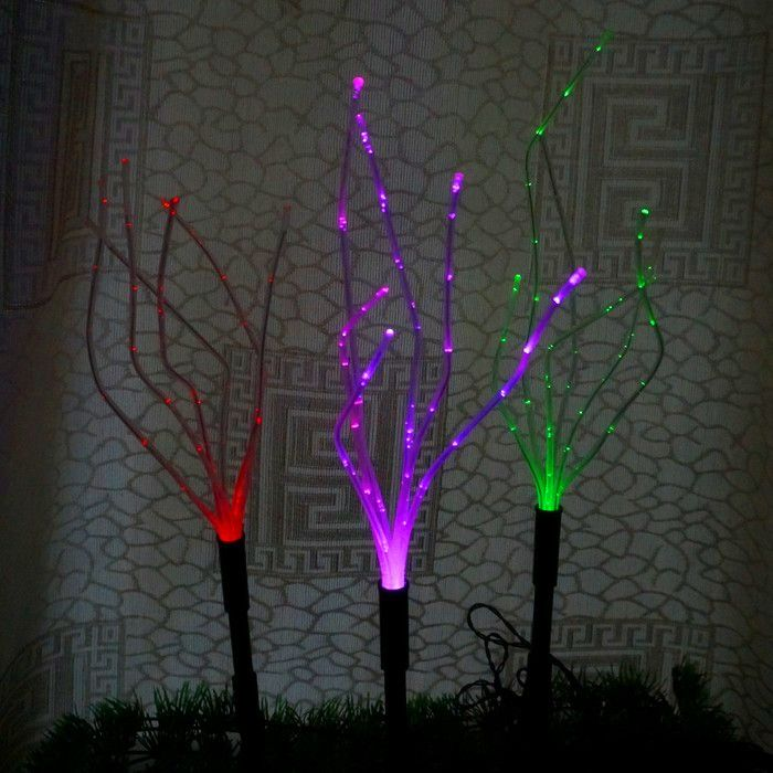 Flexible Solar LED Lawn Decoration Light Outdoor Garden Path Spot Light  Green RGB Color Changing Optical
