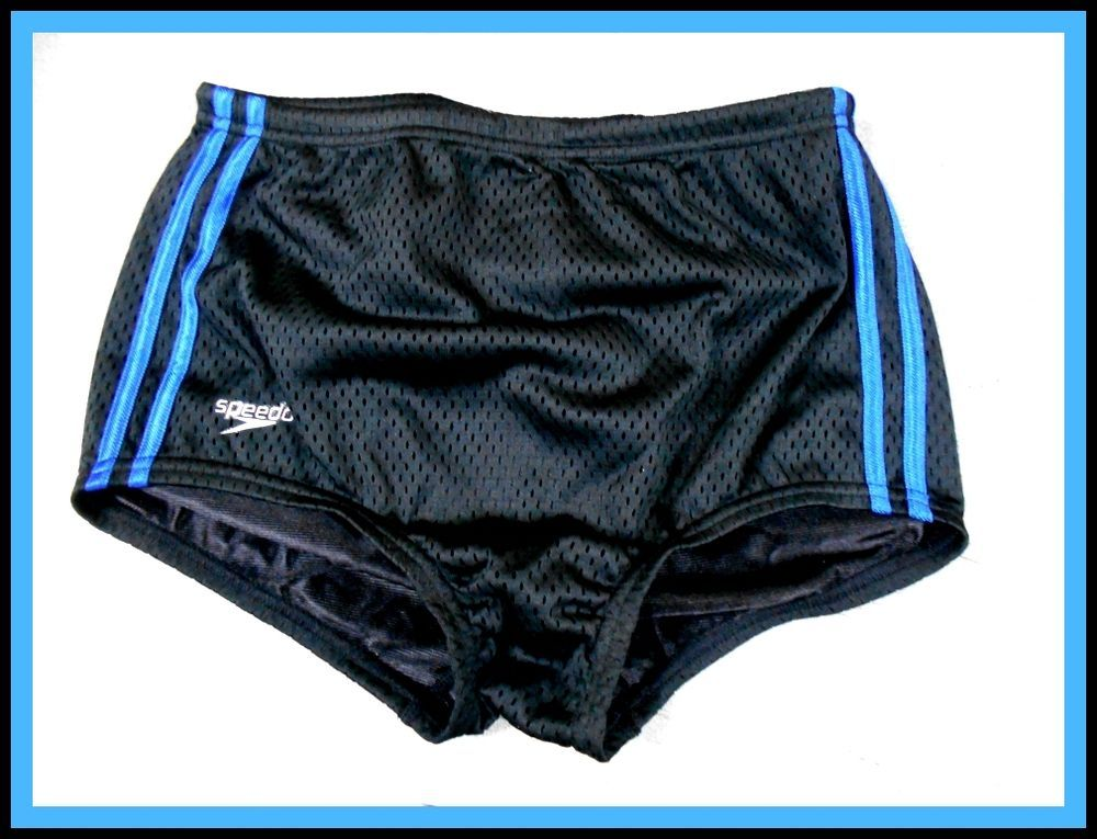 52d65b9029 Speedo Men's Solid Poly Mesh Square Leg, Size 26, Black/Blue B0006UZXV0 # Speedo #Trunks