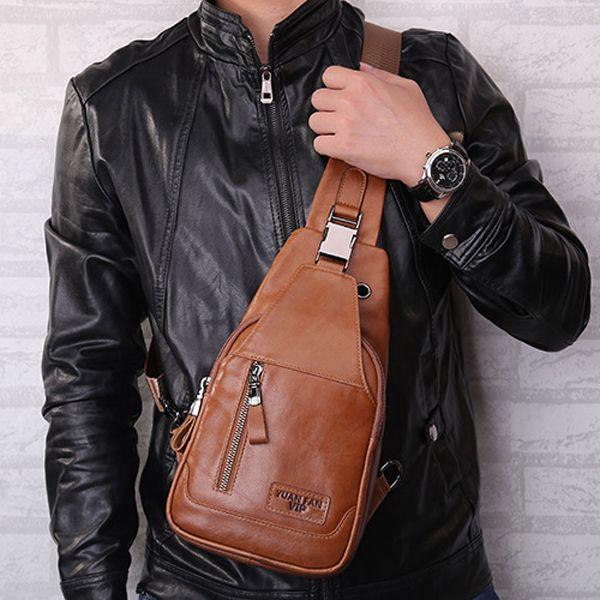 40b5081c1638b Ekphero Men Genuine Leather Shoulder Bag Vintage Chest Bags Crossbody Bags  is worth buying - NewChic Mobile