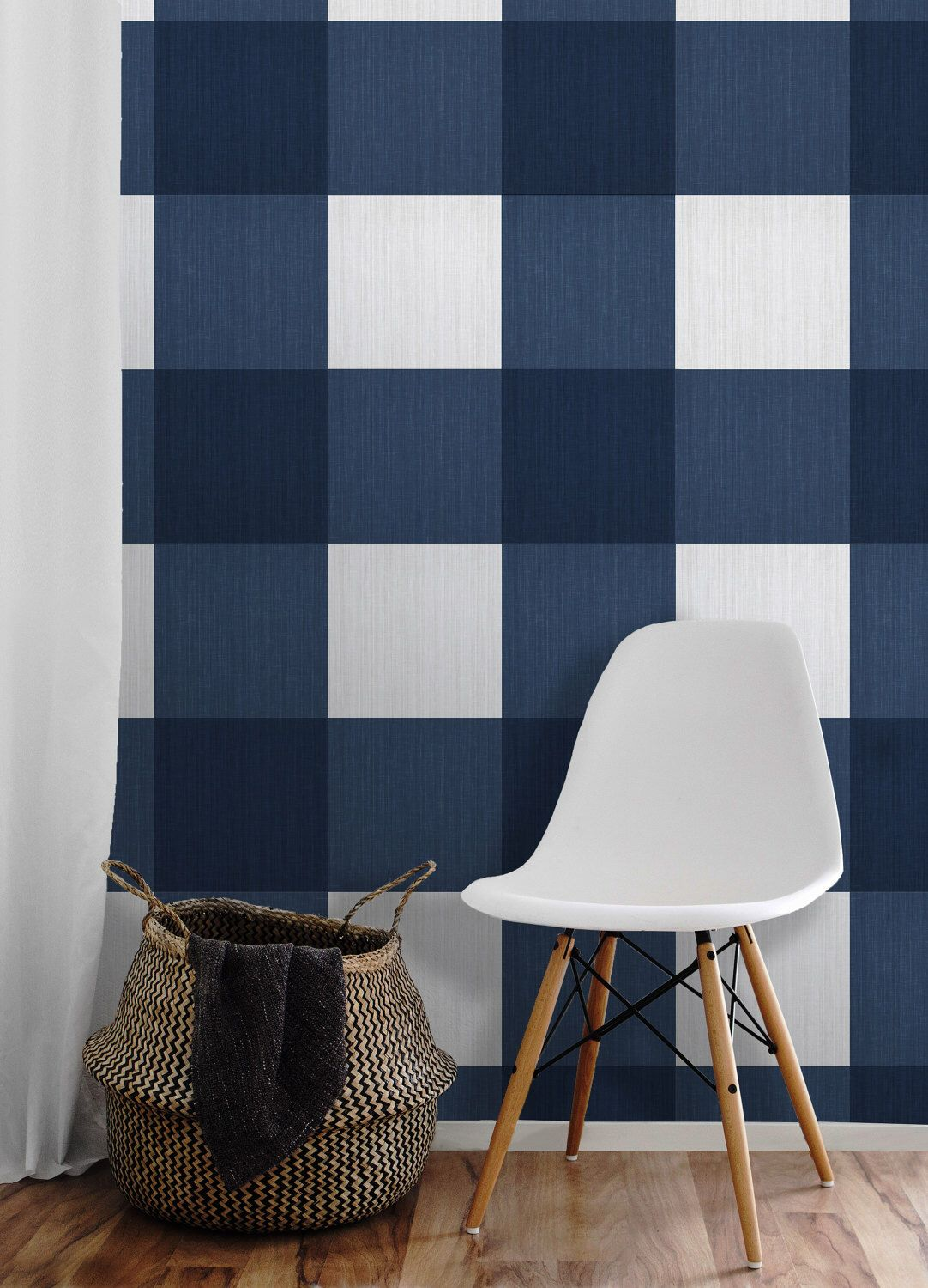 Large Buffalo Check Navy Removable Peel N Stick Wallpaper By Wallpaperie On Etsy Https Www Etsy Com Buffalo Check Peel N Stick Wallpaper Plaid Wallpaper