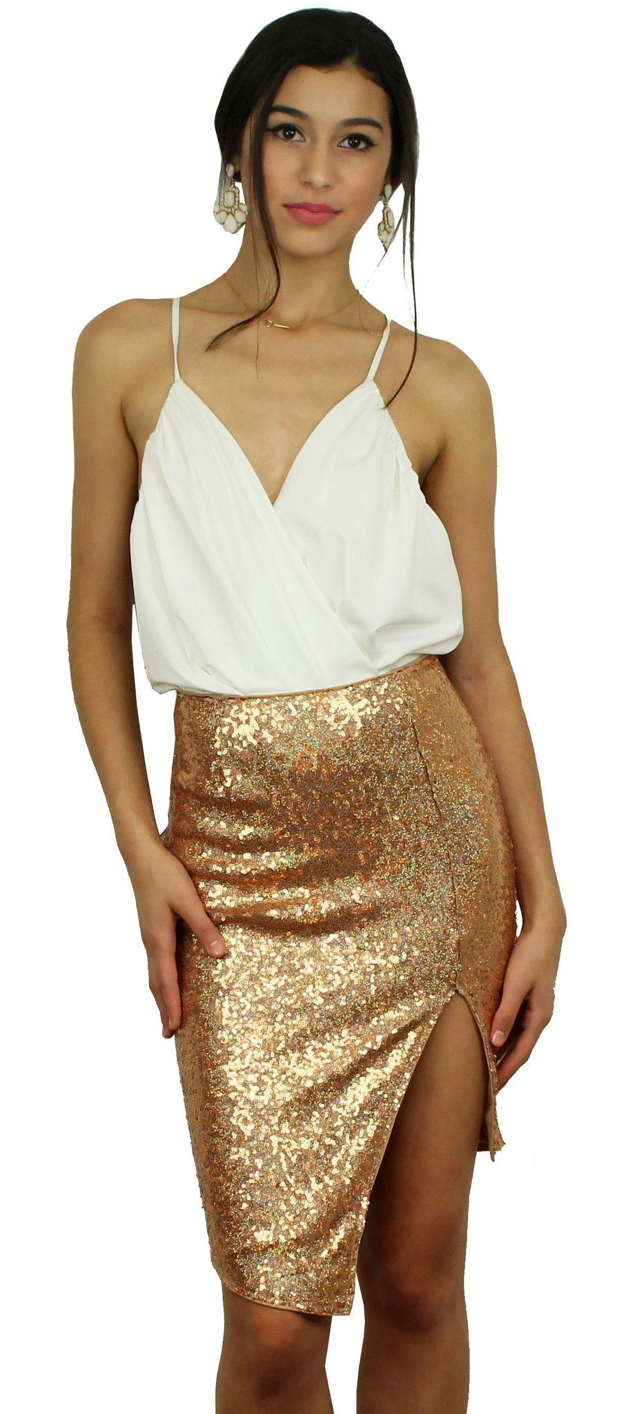 Pop the bubbly rose gold sequins midi skirt sequins rose and gold