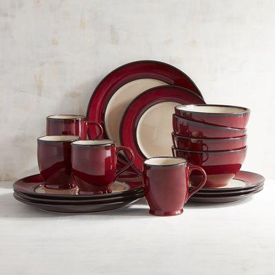 Crimson Red Reactive Rim 16 Piece Dinnerware Set Red Dinnerware Set Dish Sets Dinnerware Red Dinnerware