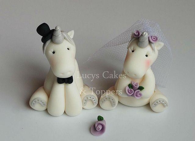 Lucky Unicorn Bride And Groom Wedding Cake Topper